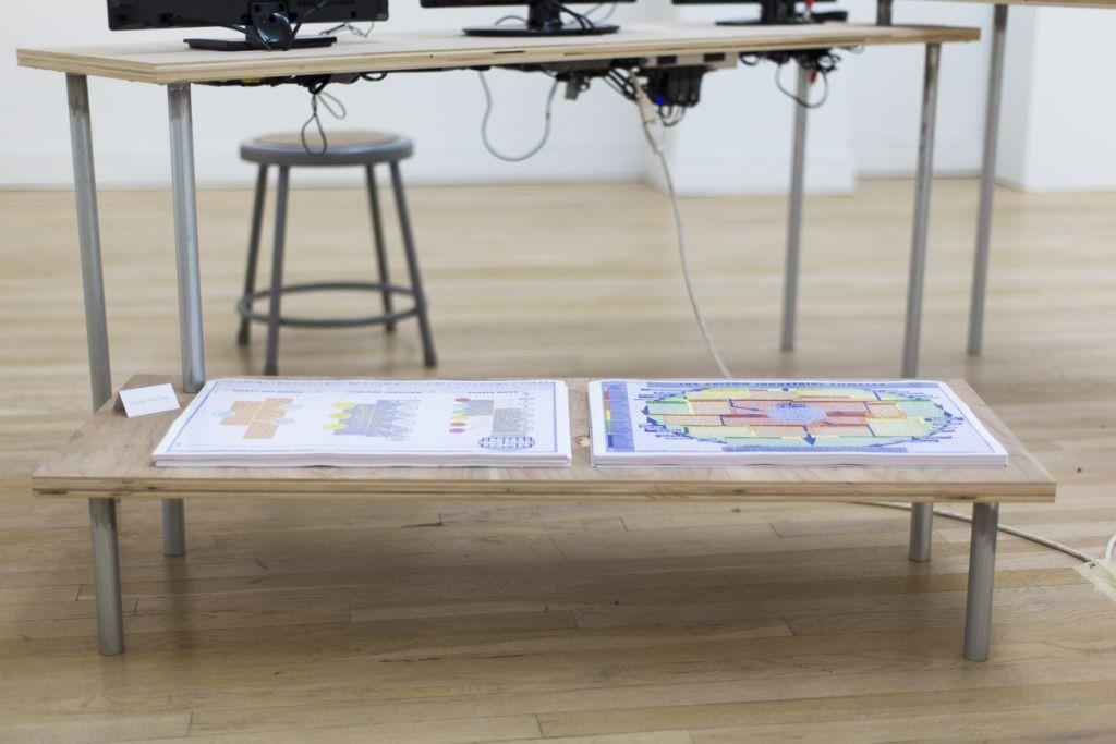 Take-away Prison Maps, at Cue Art Foundation, 2014
