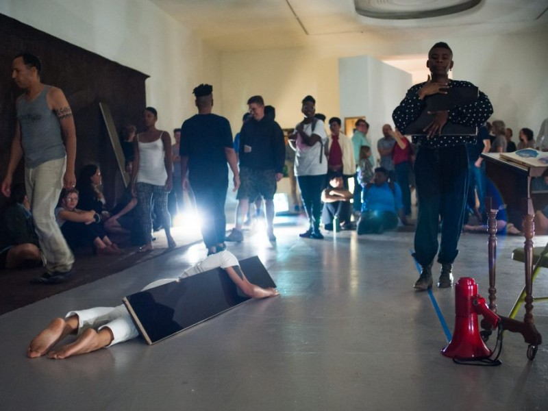 """Still from """"Demonstration,"""" opening performance, LACE, 2015"""